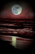 Moon Beach Posters - Supermoon Over the Ocean Poster by Emily Stauring