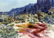 Saguaro Cactus Posters - Superstition Mountain Poster by Donald Maier