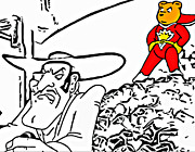 Bad Drawing Digital Art Prints - Superted and Texas Pete Print by Rich Chegwidden