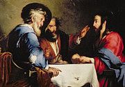 Table-cloth Prints - Supper at Emmaus Print by Bernardo Strozzi