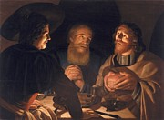 New Testament Paintings - Supper at Emmaus by Cryn Hendricksz Volmaryn