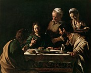 Dinner Painting Prints - Supper at Emmaus Print by Michelangelo Merisi da Caravaggio