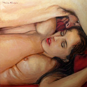 Love Making Paintings - Sur le lit by Nancy Almazan