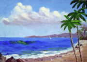 Calif. On Google Painting Originals - Surf and Palm Trees by Bob Phillips