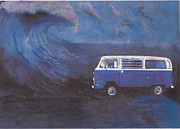 Volkswagen Pastels Prints - surf Bus Print by Sharon Poulton
