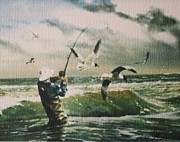 Surf Fishing Drawings Prints - Surf Casting for Striped Bass at Gull Rock Print by Bill Hubbard