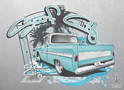 1963 Digital Art Posters - Surf City Poster by Beau Van Sickle