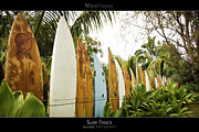 Surfboard Posters Framed Prints - Surf Fence - Maui Hawaii Posters Series Framed Print by Denis Dore