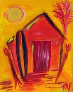 Beach Hut Paintings - Surf Hut by Tracey Ashenfelter