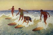 Hawaiian Vintage Art Paintings - Surf-Riders by Hawaiian Legacy Archive - Printscapes
