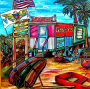 American Flag Painting Originals - Surf Shack by Patti Schermerhorn
