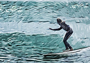 Surfer Art Metal Prints - Surf Metal Print by Tilly Williams