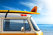 Red Photo Posters - Surf Van Poster by Carlos Caetano