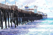 Pacific Ocean Painting Posters - Surf View Oceanside Pier California Poster by Mary Helmreich