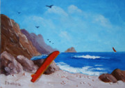 Clemente Painting Originals - Surfboard and Rocks by Bob Phillips