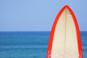 Equipment Photo Posters - Surfboard By Sea Poster by Alex Bramwell