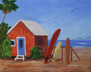 Calif. On Google Painting Originals - Surfboard Cottage by Bob Phillips