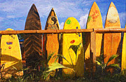 Bamboo Fence Prints - Surfboard Garden Print by Ron Regalado