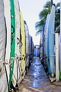 Longboard Photo Framed Prints - Surfboard Lockers Next to Beach Framed Print by Inti St. Clair