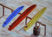 Clemente Painting Originals - Surfboards 3 by Bob Phillips