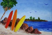 Calif. On Google Painting Originals - Surfboards on the Rocks by Bob Phillips