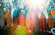 Surfboards Sun Flare Print by Monica and Michael Sweet