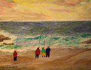 Striper Fishing Drawings Originals - Surfcasters at Sunrise by Bill Hubbard