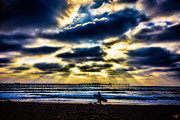 Surf Silhouette Posters - Surfer At Pacific Beach Poster by Chris Lord