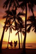 Surf Silhouette Prints - Surfer Couple Print by Dana Edmunds - Printscapes