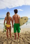 Surf Lifestyle Posters - Surfer Couple Poster by Tomas del Amo