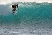 Surf Lifestyle Posters - Surfer dropping in the blue waves at Dumps Maui Hawaii Poster by Pierre Leclerc
