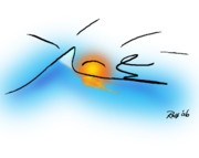 Digital Drawing Drawings - Surfer Dude by Ross Powell