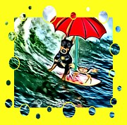 Dogs Mixed Media - Surfer Dude by Tisha McGee