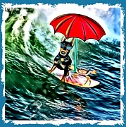 Ocean Scenes Mixed Media Framed Prints - Surfer Dude with Shades Framed Print by Tisha McGee