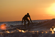 Surf Culture Posters - Surfer engaging wave on Lake Michigan at sunset Poster by Purcell Pictures