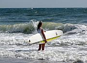 Surfer Metal Prints - Surfer Girl at Virginia Beach Metal Print by Janice Paige Chow