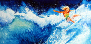 Sports Art Prints Paintings - Surfer Girl by Hanne Lore Koehler