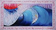 Surfing Art Paintings - Surfer Girl by Moira Gil