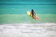 Surf Lifestyle Photos - Surfer Girl Paddling Out by Tomas Del Amo - Printscapes