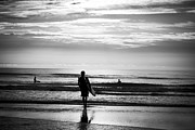 Surf Silhouette Framed Prints - Surfer in Morning Framed Print by Jessica Brooks