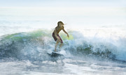 Surfer On A Morning Wave Print by Francesa Miller