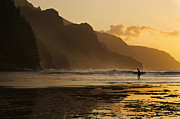 Land Feature Art - Surfer On Beach And Na Pali Coast Seen From Kee Beach, Haena, Kauai, Hawaii by Enrique R Aguirre Aves