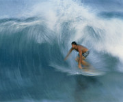 Hawai Prints - Surfer Riding A Breaking Wave In Hawaii Print by G. Brad Lewis