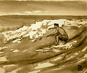Sepia Drawings Prints - Surfer Sepia Print by Pete Maier