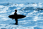 Blue Ocean Posters - Surfer Silhouette Poster by Carlos Caetano