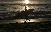 Surf Silhouette Posters - Surfer silhouette Poster by Claudia Fernandes