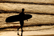 Surf Silhouette Originals - Surfer Silhouette by Gordon Campbell