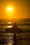 Surfin Prints - Surfer Sunset Silhouette Print by Daniel  Knighton
