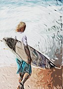 Surfer Art Posters - Surfer Poster by Tilly Williams