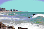 1-charles-shoup.fineartamerica.com Mixed Media - Surfers At Venice Beach by Charles Shoup
